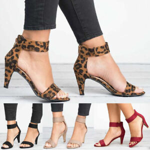 Womens Kitten Mid Heels Ankle Strap Zipper Sandals Ladies Summer Casual Shoes