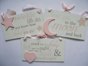 Love You To The Moon And Back Hanging Sign Nursery Plaque New Baby Gift