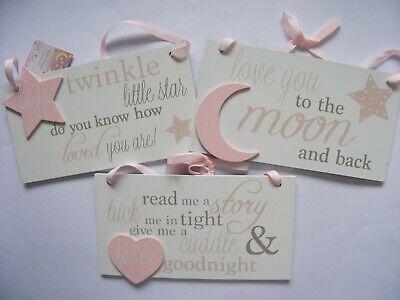 Wooden Double Heart Plaque Sign Baby Girl Pink Boy Blue Bedroom Nursery