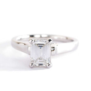 1-Ct-VS2-J-Emerald-Cut-Real-Diamond-Solitaire-Engagement-Ring-18K-White-Gold