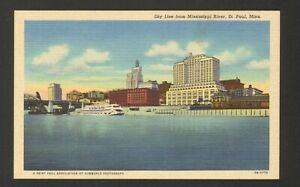 Unused-Postcard-Sky-Line-from-Mississippi-River-St-Paul-Minnesota-MN