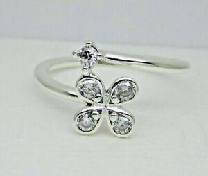7686d8102 Authentic Pandora #197988CZ-54 Four Petal Flowers Ring with Clear CZ ...