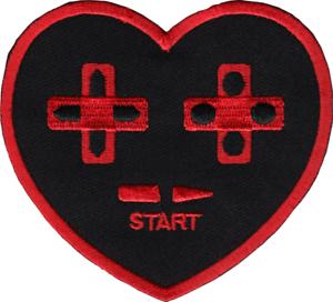 "Sew Iron on Video Games Bitmap Heart 2.5/"" X 3.8/"" Patch Original Artwork"
