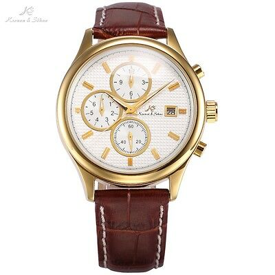 KS Analog Leather Automatic Mechanical Men Sport Day Date Indicator Watch