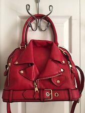 Vegan Faux Leather Motorcycle Jacket Handbag - 2 Handles & Shoulder Strap - RED