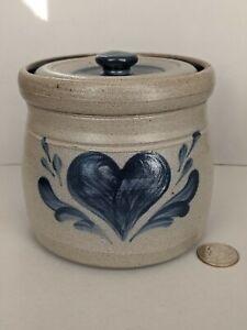 Rowe Pottery Stoneware Sugar Jar 1992 Cambridge Cobalt Valentine Day Heart ❤️