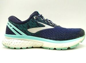 Brooks-Ghost-11-Navy-Blue-Knit-Lace-Up-Athletic-Running-Shoes-Women-039-s-8-D