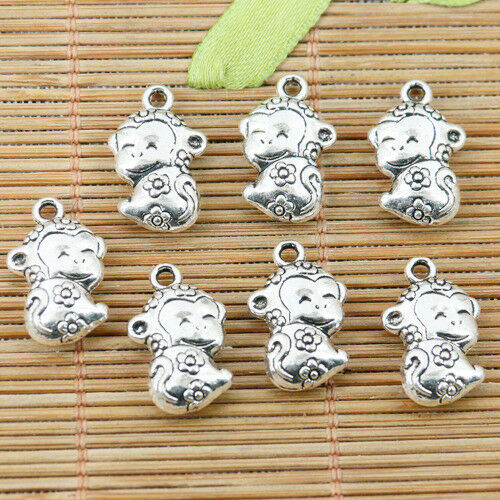 8pcs tibetan silver flower pattern baby monkey design charms EF1563