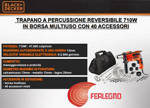 TRAPANO-A-PERCUSSIONE-REVERSIBILE-710W-CON-BORSA-ACCESSORI-ART33745-BLACK-amp-DECKER