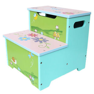 Princess-Hand-painted-Colorful-Toddler-Step-Stool-Toy-Storage-Box-Kids-Furniture