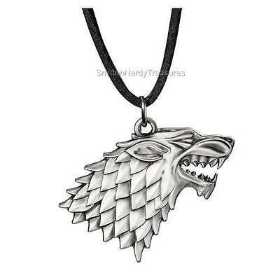 "HBO GAME OF THRONES Licensed 1.5"" House STARK Sigil PENDANT Necklace Dire Wolf"