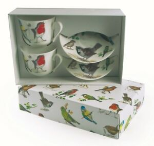 Roy-Kirkham-Garden-Birds-Bone-China-Cup-amp-Saucer-Set-of-2-Gift-Boxed-Nature-New