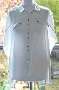 RED-HERRING-Cream-Semi-Sheer-Summer-Style-Loose-Party-Shirt-Size-10