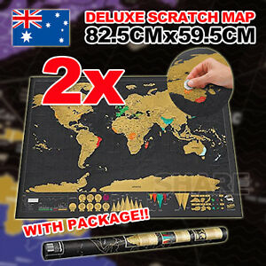 2x Scratch Off World Map Large Where You Travel Poster Layer Atlas Decor