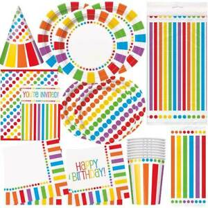 RAINBOW-Happy-Birthday-Party-Tableware-amp-Decorations-Napkins-Plates-Banner