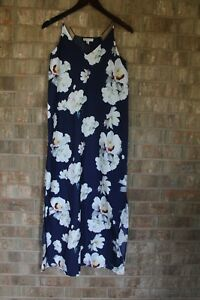 Elaine-Rose-Women-039-s-Long-Navy-Blue-Floral-Printed-Summer-Maxi-Dress-Size-0-Small