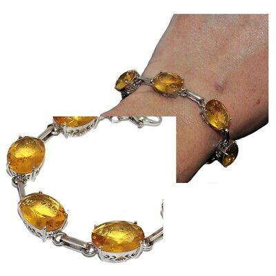 Preciso Bracelet Plaqué Argent Serti De Pierres Jaunes 16cm à 21cm Bijou