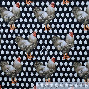 BonEful-Fabric-FQ-Cotton-Quilt-Black-White-B-amp-W-Chicken-Egg-Feather-Farm-House-US