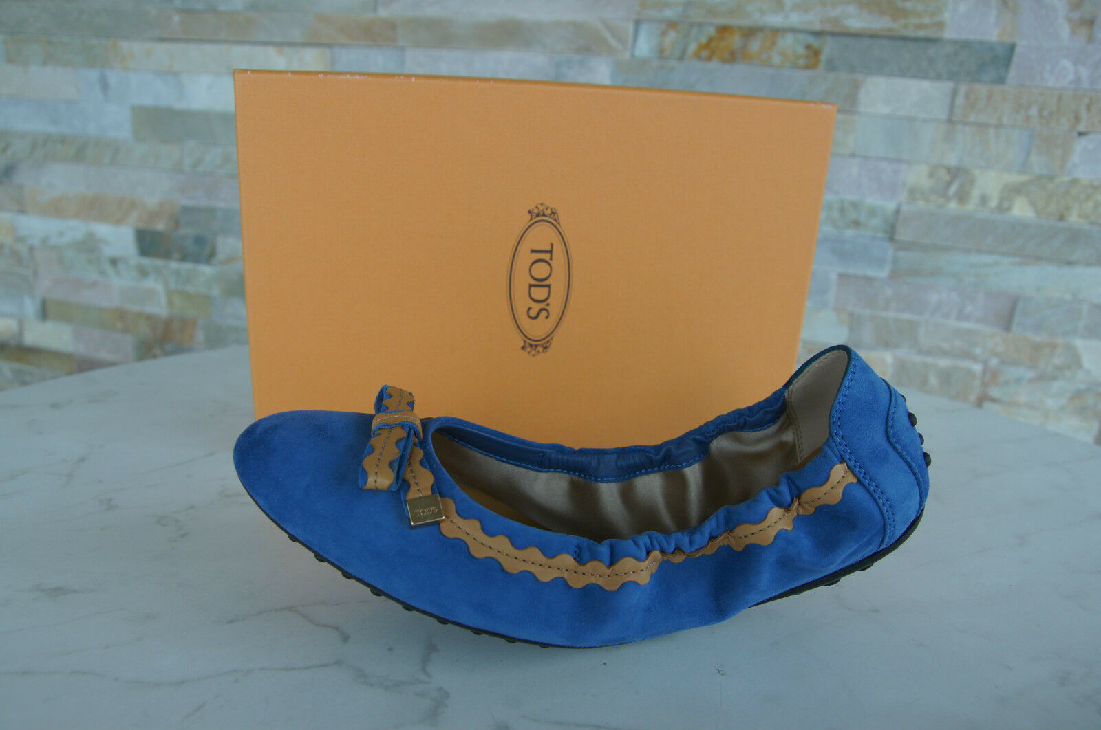 negozio d'offerta Tods Morte ´ S Gr Gr Gr 38 Scarpe Ballerine Scarpe Blu Marrone Nuovo Origin.  ordinare on-line