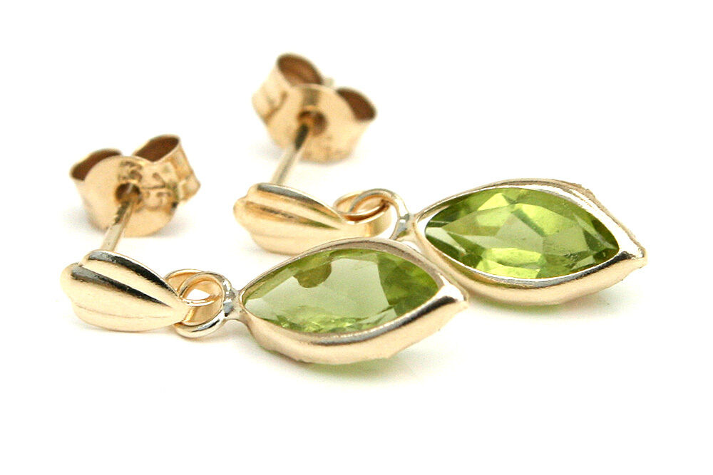9ct gold Peridot Drop Marquise Dangly Earrings Made in UK, Gift Boxed Birthday