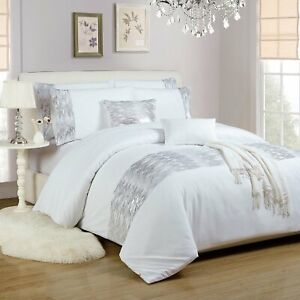 White-Silver-Duvet-Quilt-Cover-Bed-Set-With-Pillow-Shams-Shimmer-Sequin-Diamante