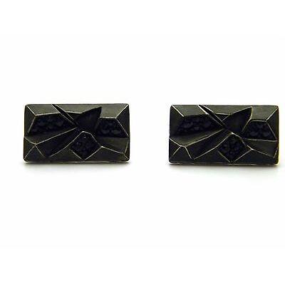 NEW John Hardy Mens Classic Chain Lava Rectangular Cufflinks Black Sapphire