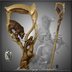 Bear-Gazelle-wooden-walking-stick-cane-hiking-staff-hand-carved-comfortable