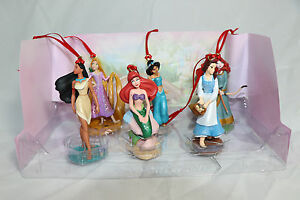 Disney-Princess-Christmas-Custom-Ornaments-Figure-6-Set-Rapunzel-Jasmine-Belle