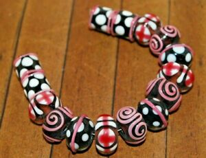 15 pc set Handcrafted Fine Murano Lampwork Glass Beads Swirls 14mm LW186