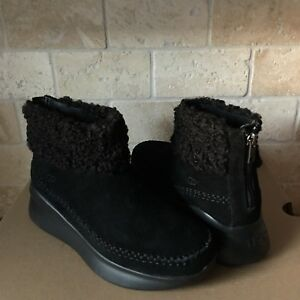 0827518a216 Details about UGG MONTROSE BLACK SUEDE ZIP SNEAKERS SHOES ANKLE BOOTS SIZE  8 WOMENS