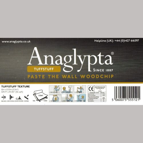 2 Rolls Of  Anaglypta Reinforced Woodchip Wallpaper PASTE THE WALL