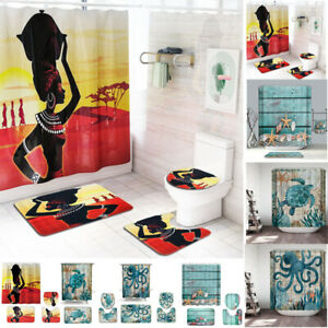4Pcs-Set-Bathroom-Non-Slip-Pedestal-Rug-Lid-Toilet-Cover-Bath-Mat-Shower-Curtain