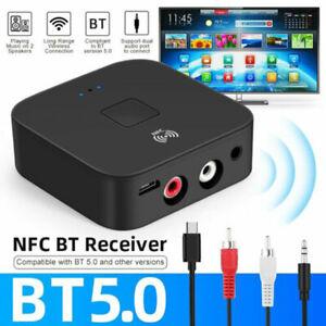 Bluetooth-Wireless-5-0-Empfaenger-AUX-NFC-zu-2-Cinch-Audio-Stereo-Adapter