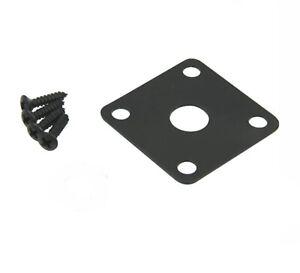 BLACK FLAT METAL JACK PLATE FOR GIBSON LES PAUL GUITAR SQUARE W//SCREWS *NEW*