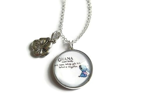 """Ohana means family themed 20mm glass dome 20/"""" silver plated necklace fan gift UK"""
