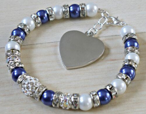 Gravé Mère de Mariée mariage nuptiale Bracelet Breloque Cœur Personnalisé Cadeau
