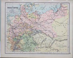 1898-Landkarte-Deutsche-Reich-Mecklenburg-Boheme-Hanover-Bavaria-Wuerttemberg