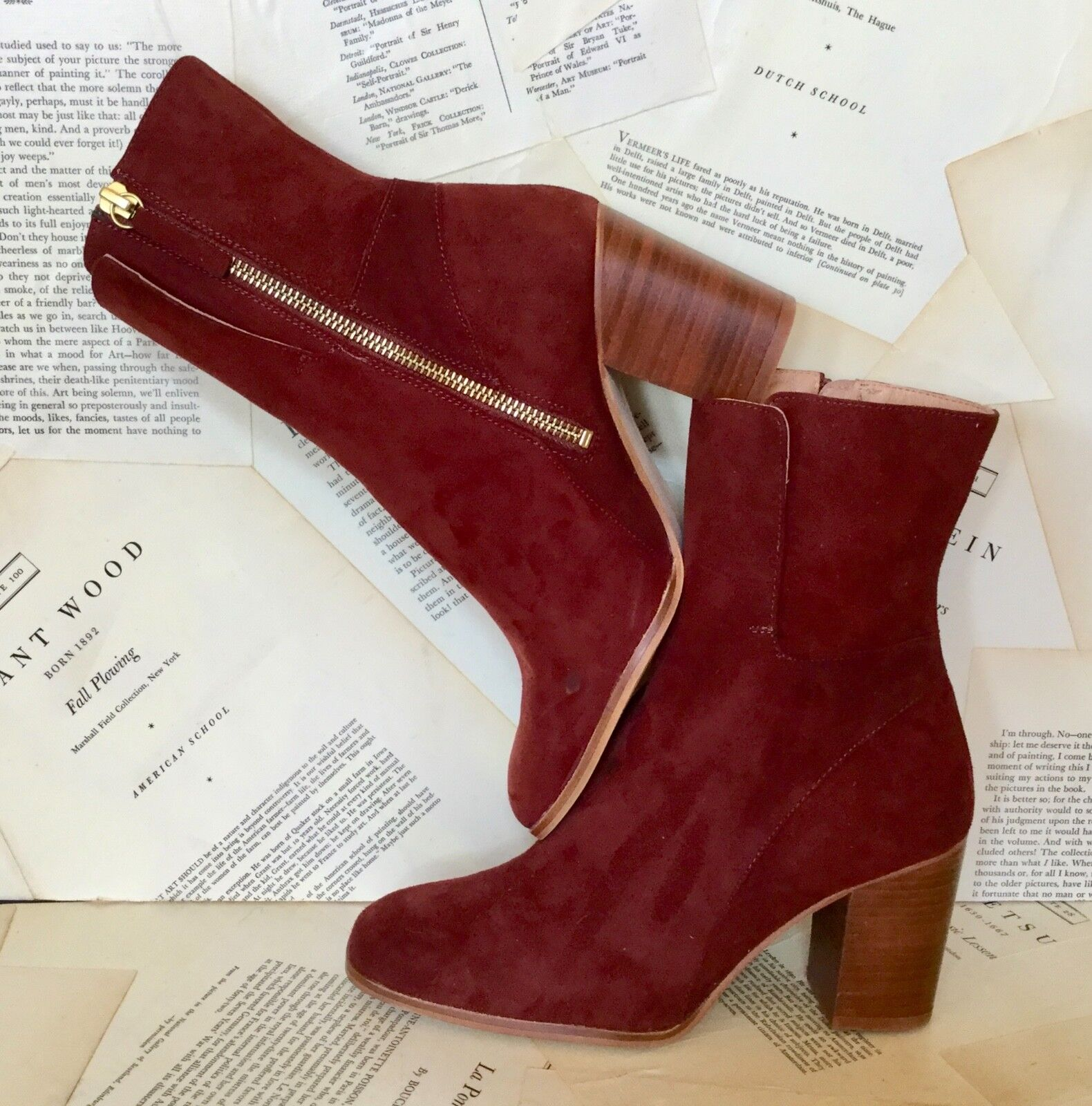 NEW Free People rusty wine Soft Suede Inside Zipper Block Heel Boot 37  6.5 -7