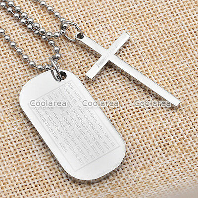 Pair Mens Steel Cross Lord's Prayer Bible Dog Tag Pendant Couple Lovers Necklace