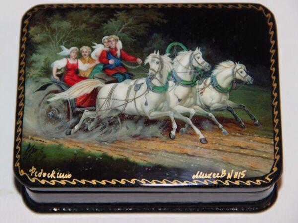 Das Beste Troika Pferde, Russische Lackdose, Miniaturmalerei, Fedoskino