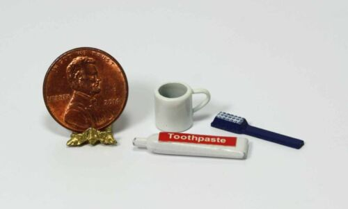 Dollhouse Miniature Set of 3 Toothpaste Bathroom Items