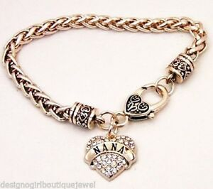Image Is Loading Nana Bracelet Crystal Silver Pl Grandmother Grandma Heart