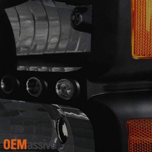 Fit 99-04 Ford F250//F350 SD Excursion Black Smoke 1PC LED Headlights Corner Lamp