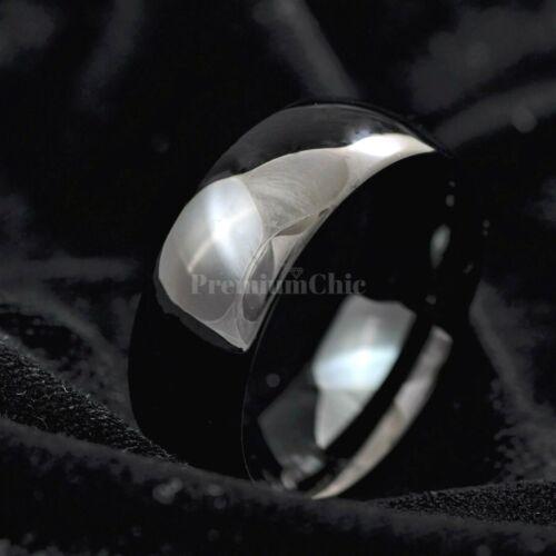 Espejo negro acabado de Carburo de Tungsteno Anillo Anillo de compromiso alianza de boda para hombre