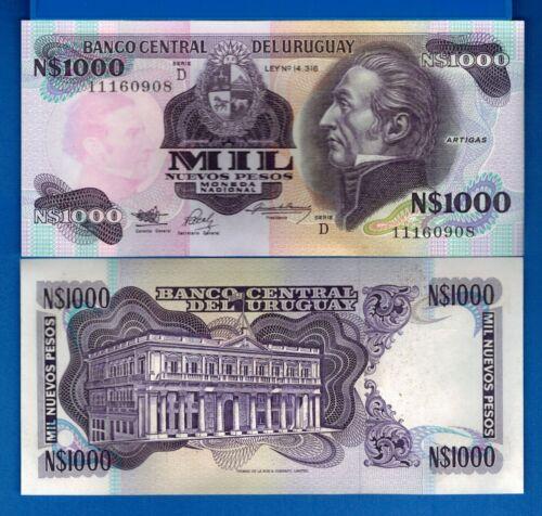 Uruguay P-64Ab 1000 Nuevos Pesos Year 1991-92 ND Uncirculated Banknote