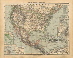 Cartina Geografica Degli Stati Uniti Di America.Carta Geografica Antica Stati Uniti D America Messico Usa 1897 Old Antique Map Ebay
