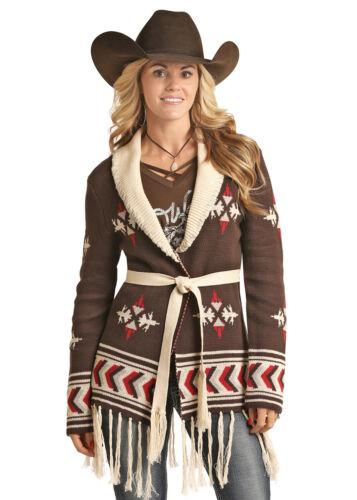 Powder River Women/'s Multi Couleur Imprimé Aztèque Frange Cardigan 52-2708
