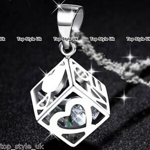diamond inside hollow heart cube pendant silver necklace love gifts