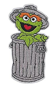 Details About Oscar The Grouch Trash Can 4 Tall Embroidered Iron On Patch