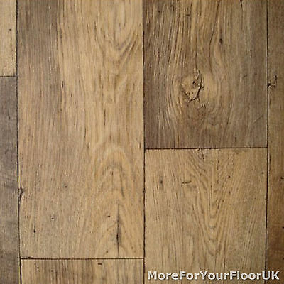 Vinyl Flooring Dark Oak Wood - Non Slip Kitchen Lino 4m